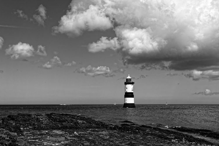 Pen Mon Anglesey Architecture Beach Beauty In Nature Building Exterior Built Structure Cloud - Sky Day Direction Horizon Over Water Lighthouse Nature Nautical Equipment No People North Wales Outdoors Pentax Protection Safety Scenics Sea Sky Tranquility Water