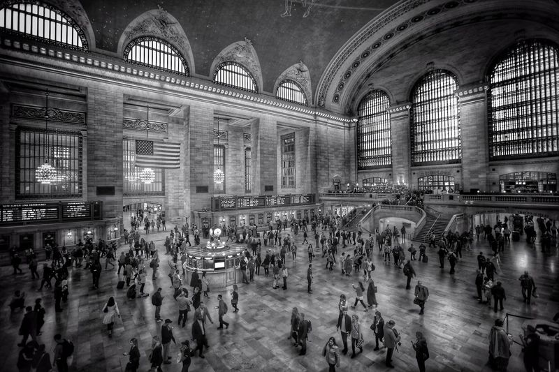 Grand Central Terminal New York Large Group Of People Crowd Architecture Railroad Station Transportation Built Structure Real People