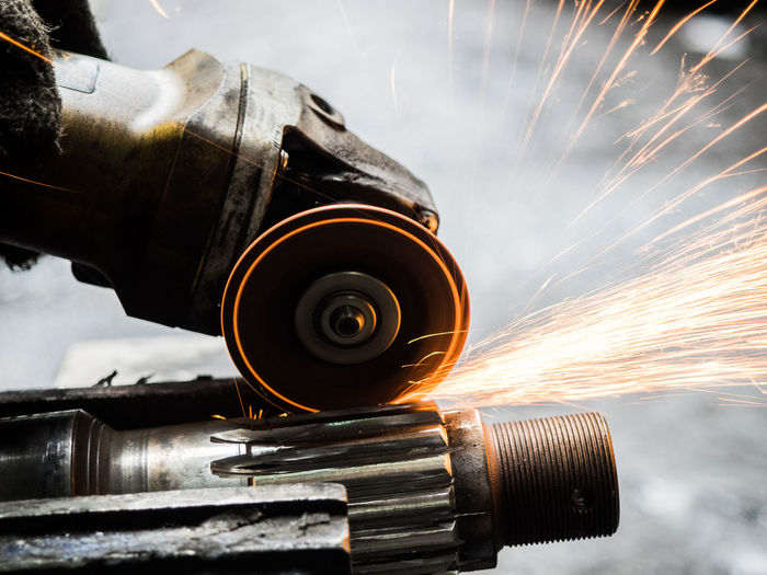 Close-up of sparks from circular saw
