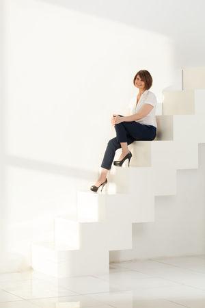 Background Boss Brunette Businesswoman Caucasian Design Elegant Emotion Female Indoors  Modern Office Posing Stairs Style Vertical White Woman