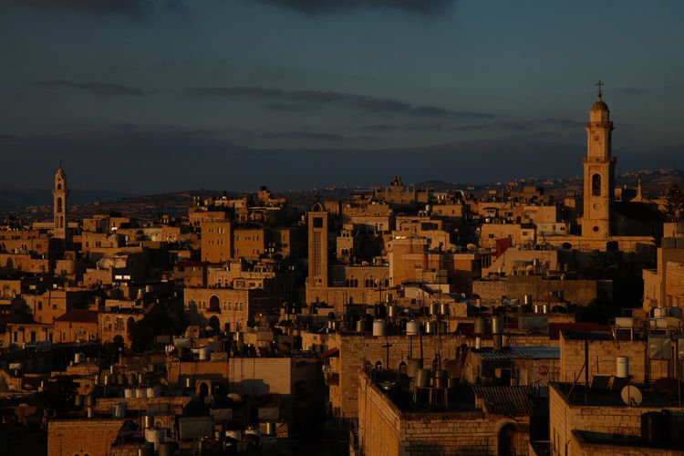 the City of Bethlehem shines on at Sunrise. City Cityscape Sky Building Cloud - Sky Residential District Travel Destinations Building Exterior Architecture Built Structure Place Of Worship TOWNSCAPE Travel Sacred Sacred Places Sacred Destinations