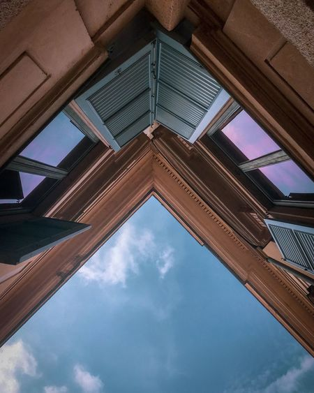 Color architecture Low Angle View Architecture Built Structure Sky Cloud - Sky No People EyeEmNewHere Building Exterior Nature Day Directly Below Outdoors Reflection Geometric Shape Building Blue Metal Pattern Shape Roof Ceiling