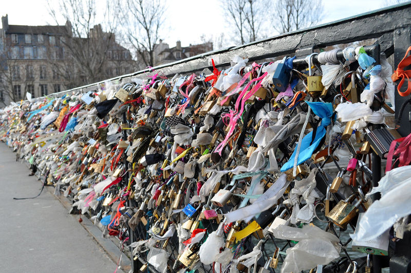 Abundance Bridge - Man Made Structure City Cultures Day Hanging Hope Hope - Concept Large Group Of Objects Lock Multi Colored No People Outdoors Padlock Protection Railing Sky Sticky