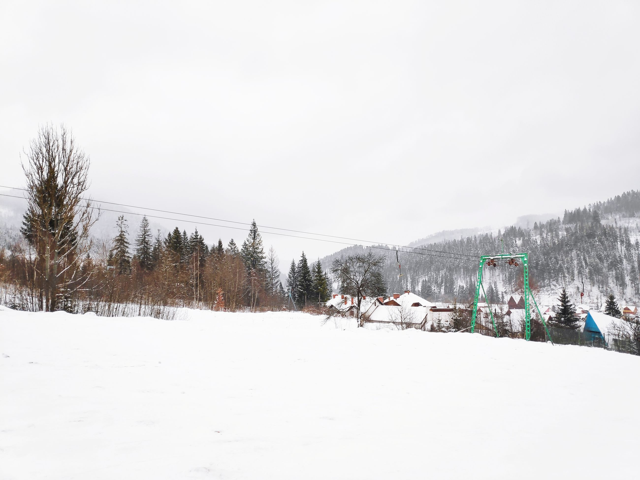snow, cold temperature, winter, tree, sky, white color, nature, plant, day, scenics - nature, mountain, beauty in nature, covering, copy space, land, field, clear sky, non-urban scene, tranquil scene, no people, outdoors, snowcapped mountain, snowing