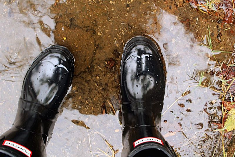 Hunter Boots Water Ripples Rainy Days Rain Boots Black Boots Puddle After The Storm Reflections In The Water
