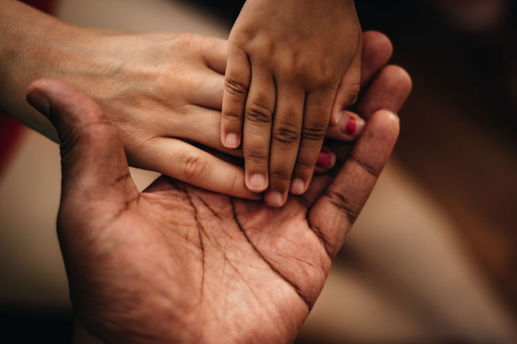 Close-up of couple hands