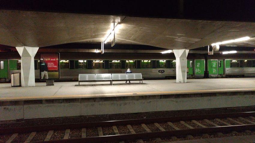 Illuminated Railroad Station Platform Railroad Track Rail Transportation Railroad Station