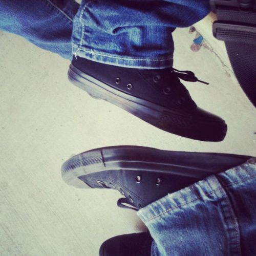 Its cool when one of your friends are wearing the same shoes you're wearing, Lolz!