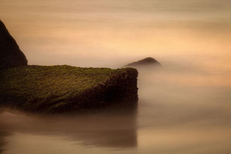 View of misty ocean
