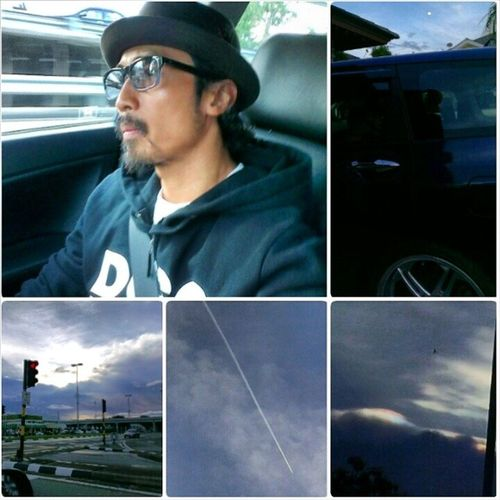 Latepost Afternoondrive Sunday looking at the Skies EarlyMoon planeinthesky rainbowclouds aftertherain