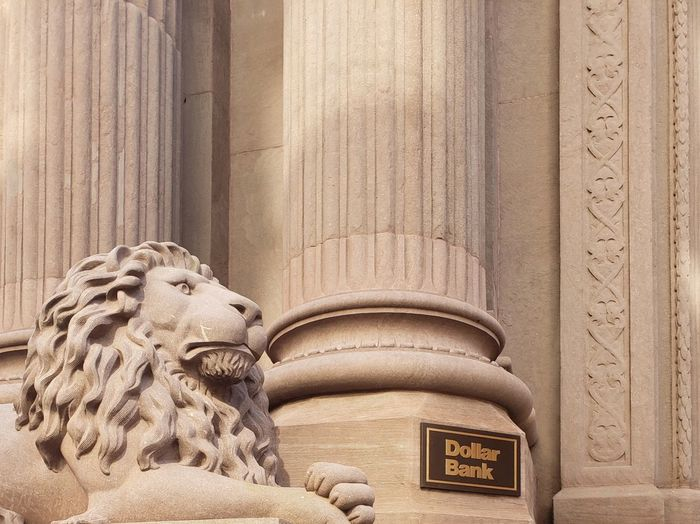 Pennsylvania Pittsburgh Dollar Bank Bank Guardianship Money Lion Feline Front Entrance Childhood Close-up Sculpture History Historic Sculpted Statue Historic Building The Past