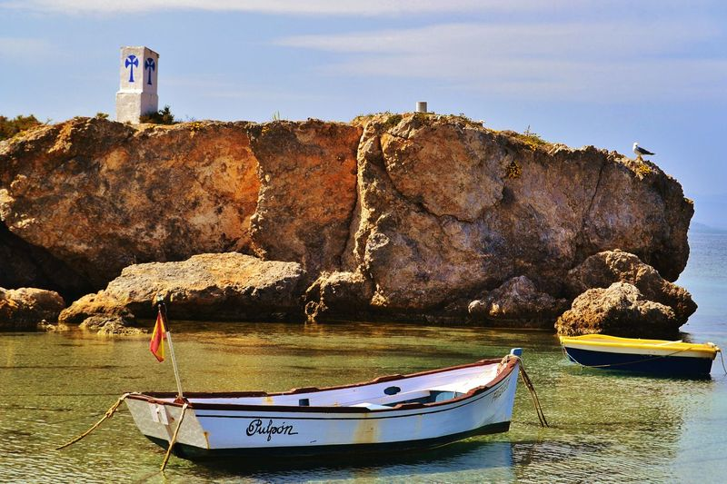 Beach Relaxing Hello World Enjoying Life Awesome Tranquility Scene Place Place Of Interest Beach Photography Beach Life Alicante, Spain Island Life Tabarca Island Tabarca's Island Alicante Islandlife Boat Boats Sea Reflection Seagull Town Fisherman Tied Boat