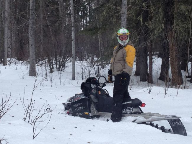 Son Breaking Trail Winter Snow Snowmobiling