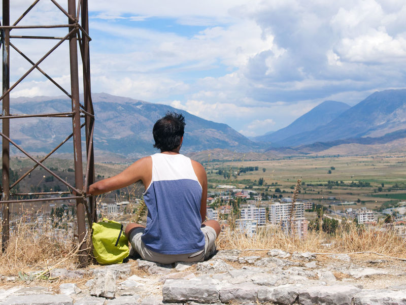 Back Gjirokaster Man Beauty In Nature Clouds Clouds And Sky Mountain Range Sky Traveller View From Above