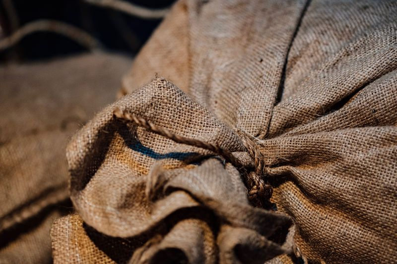 No People Textile Close-up Still Life Backgrounds Textured  Brown Sack Focus On Foreground