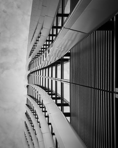 EyeEm Best Shots Architectural Feature Architecture Building Building Exterior Built Structure Cloud - Sky Day Diminishing Perspective Directly Below Eyeem Black And White In A Row Metal Modern Nature No People Office Building Exterior Outdoors Pattern Sky Skyscraper Window
