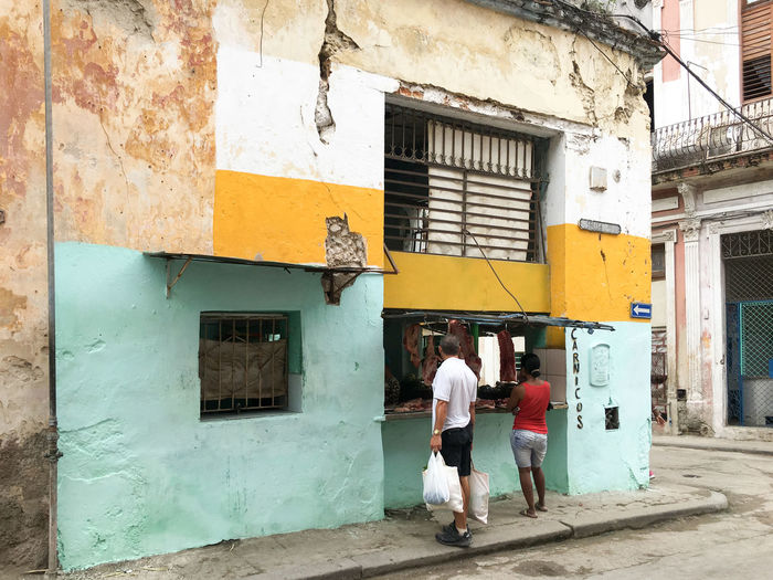 Butcher Colors Cuba Havana Architecture Building Exterior Built Structure Colorful Day Outdoors People Real People Store Window