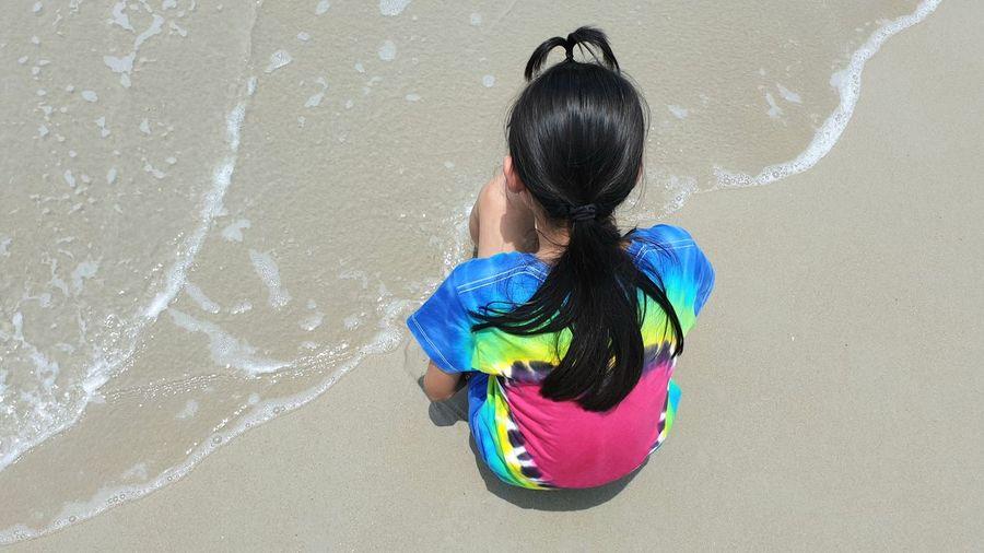 Children On Sandy Beach Water Children Landscape Multi Colored Childhood Girls Blue Sand Wave Sandy Beach Beach