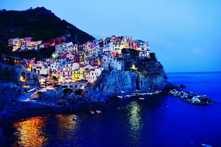 Cinque Terre Blue Sky Water Outdoors No People Ligths In The City Colorful Fishing Village City Old Town Night Travel Destinations Live History Sea And Sky Marina Ligth And Water Old Ruin Architecture Landscape First Eyeem Photo Cityscape Blue Sky Architecture