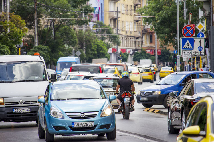 View of traffic on city street