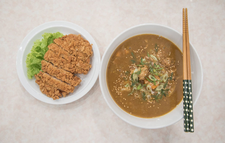 Japanese meal, chicken katsu with curry udon. Bowl Chicken Katsu Cultures Day Dinner Food Food And Drink Freshness Fried Chicken Healthy Eating High Angle View Indoors  Japanese  Japanese Food Lunch No People Ready-to-eat Serving Size Soup Table Udon