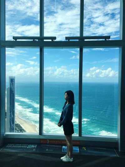 Hi People Sea And Sky Travel Destinations Travel One Person Sea Window Full Length Sky Water Standing Cloud - Sky Nature Looking At View Horizon Over Water