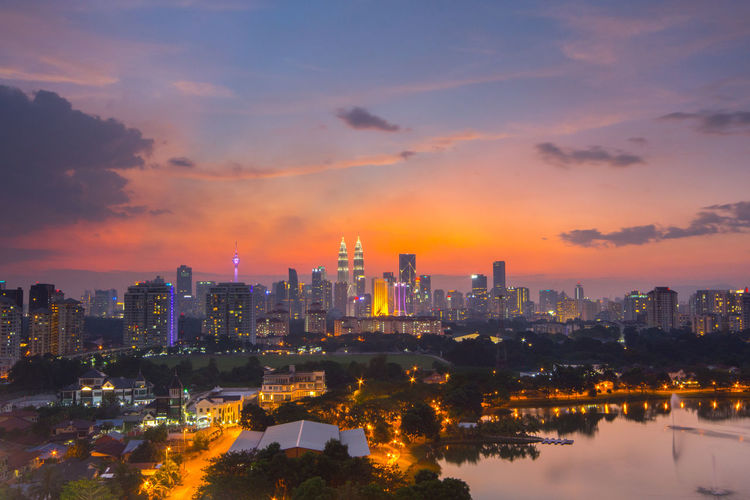 Kuala Lumpur city during sunset Backgrounds Building City Cityscapes Cloud KL TOWER Klcc KLCC Twin Towers Lamp Light Metropolitan Road Rooftop Skyline Sunset