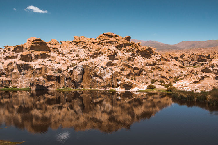 Continuing to Uyuni via Laguna Negra and Laguna Vinto. Clear Sky Desert Laguna Negra Reflection Tranquility Travel Adventure Arid Climate Day Idyllic Lake Mountain Mountain Range No People Non-urban Scene Nor Lipez Outdoors Remote Rock Rock Formation Scenics Sur Lipez Travel Destinations Water Waterfront This Is Latin America Going Remote Visual Creativity The Great Outdoors - 2018 EyeEm Awards The Traveler - 2018 EyeEm Awards