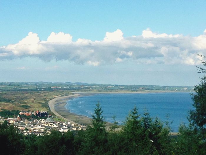 Newcastle beach from the Mourne Mountains, Newcastle, Co Down, Ireland.