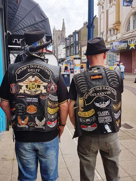 Harley Davidson Outsiders  Badges/patches Characters Best Friends ❤ High Street Leather Jacket Hats #Bowie Posing