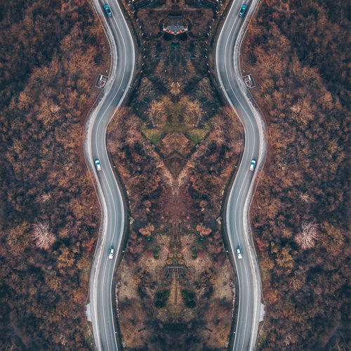 Digital composite image of car on road