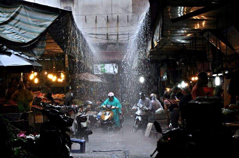 Hanoi Vietnam Tropical Rain Storm Torrential Rain Motorcycle Motorbike Drench Market Heat Humidity