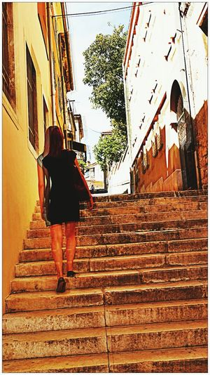 Steetphotography Building Exterior Rear View Architecture Built Structure Steps Full Length Staircase Real People Walking Steps And Staircases One Person Lifestyles Outdoors Women Day City Sky People