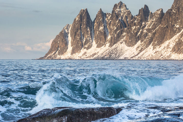 Beauty In Nature Cold Idyllic Landscape The Great Outdoors - 2016 EyeEm Awards Mountain Nature Nature Northern Norway Norway Ocean Outdoors Physical Geography Power In Nature Rock Rock - Object Rock Formation Rough Scenics Sea Surf Landscapes With WhiteWall Need For Speed Water Wave