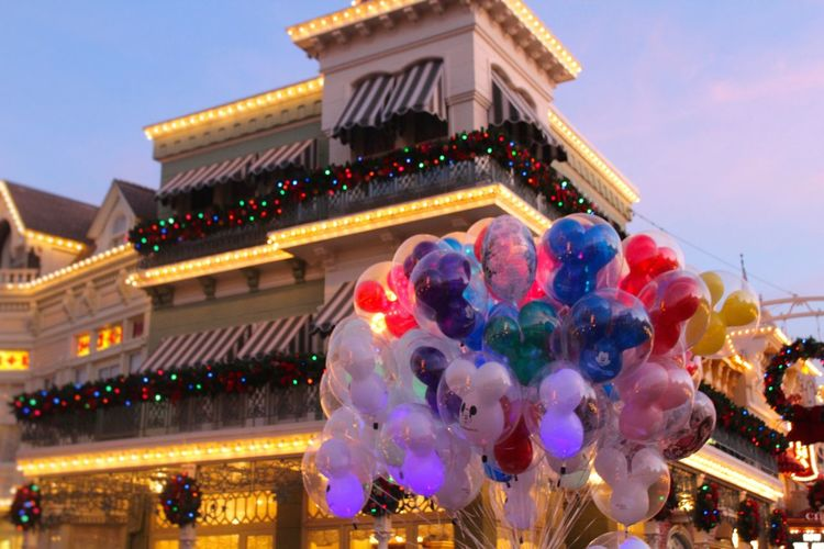 Balloons DisneyWorld Disney Architecture Building Exterior Built Structure Low Angle View Multi Colored Tradition Religion Travel Destinations Outdoors Celebration Place Of Worship No People Illuminated Day Sky