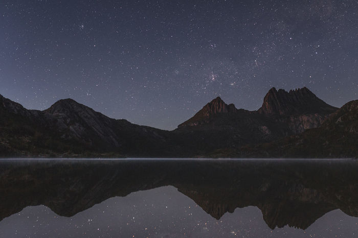 Astro Astronomy Astrophotography Australia Beauty In Nature Cradle Mountain Dove Lake Lake Landscape Mountain Mountain Range Nature Night Outdoors Reflection Reflection Scenics Sky Standing Water Stars Tasmania Tranquil Scene Tranquility Water