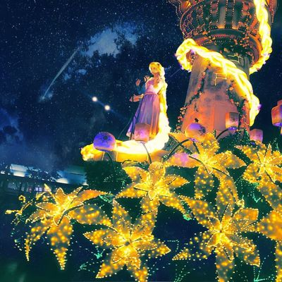 Disney Disneyland Tokyo,Japan Rapunzel Night Low Angle View Religion Statue Illuminated Winter Human Representation No People Sculpture Snow Arts Culture And Entertainment Spirituality Sky Mountain Christmas Tree Star - Space Moon Milky Way Galaxy