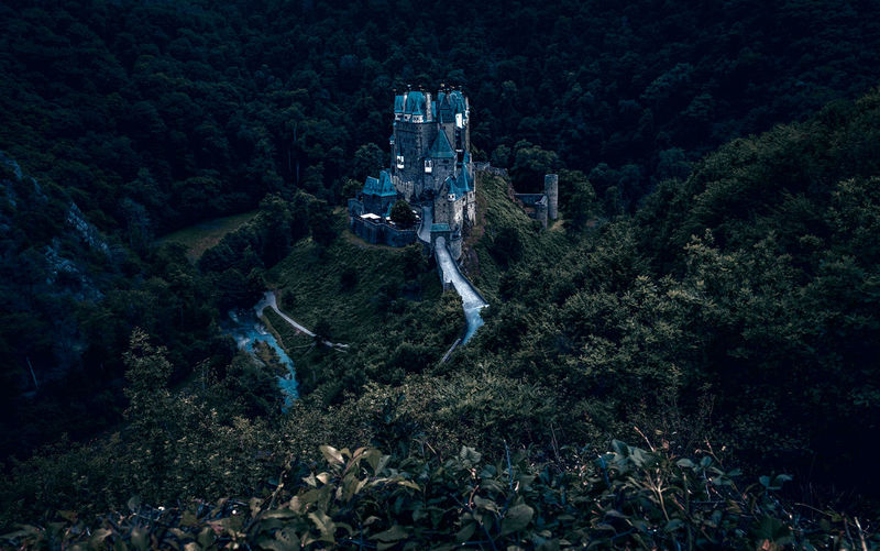 Burg Eltz Ancient Architecture Castle Dark Beauty In Nature Dengler Eltz Forest Forest Photography Germany High Angle View Matthias Mountain Nature Night No People Outdoors Palatine Rhineland Scenics Snapshopped Travel Destinations Tree Valley Wierschem