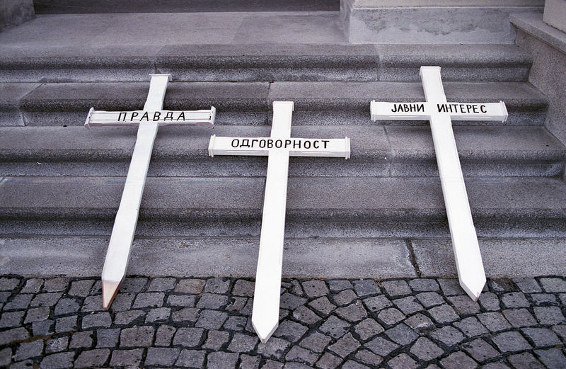 Close-up of crosses on steps