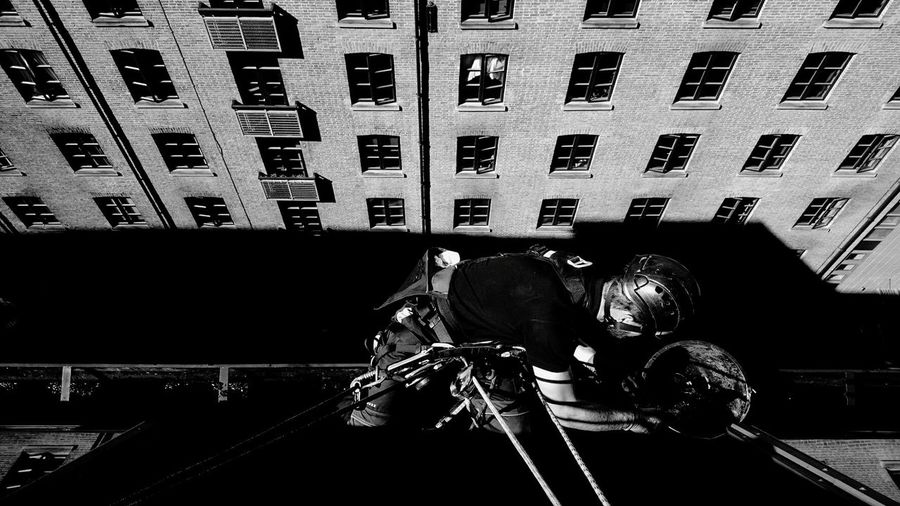 Abseilling Rope Access Outdoors Climbing Building Exterior Architecture Built Structure Residential Building Window City Transportation Residential Structure City Life Apartment Outdoors Skyscraper Tall - High Office Building Day First Eyeem Photo