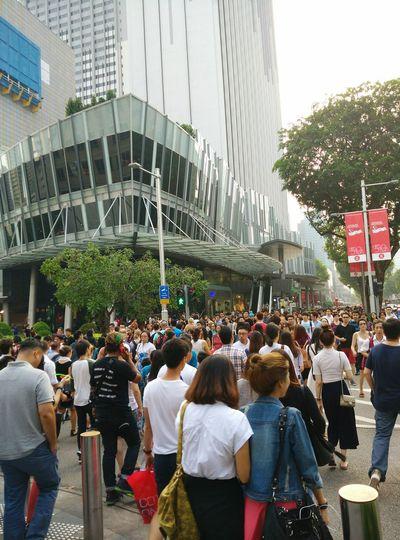 Crowd Singapore Weekend Traficlight Crossing Walking