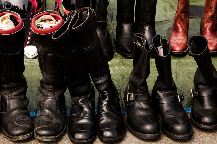 Collection and choice of leather boots for bikers, menswear Bike Ride Bikelife Biker Bikers Black Boots Buckle Close-up Collection Day Leather Leatherboots Menstyle Menswear Motorbike Motorsport Motorsports No People Outdoors Rider Shoe Shoes Used Vintage Vintage Style