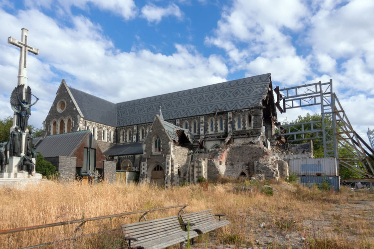 Christ Church Cathedral Christchurch New Zealand Desaster Building Religion Cross Outdoors Scenery Sky Clouds Summer Blue Stone Historic Drama Wall Scaffolding SUPPORT