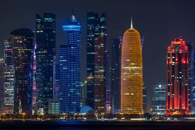 Doha Cornish Skyscrapers at Night Skyscraper Architecture Building Exterior City Modern Illuminated Built Structure Night Urban Skyline Travel Destinations