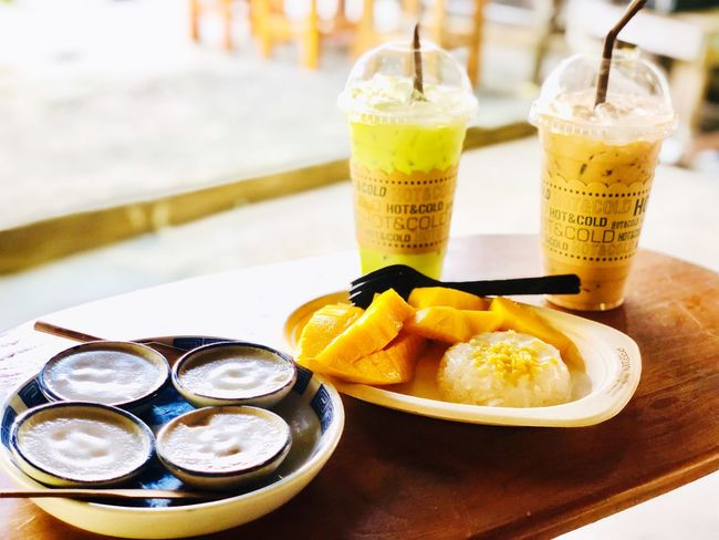 Thai desserts Food And Drink Drink Food Refreshment Freshness Glass Drinking Glass Fruit Drinking Straw