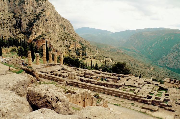 Ancient Ancient Civilization Ancient Greek Ancient Ruins Antiquity Architecture Classical Architecture Delphi Here Belongs To Me High Angle View History Landscape Landscapes With WhiteWall Mountain Mountain Range Old Ruin Oracle Rock - Object Rock Formation Sky The Past Tourism Tranquility Travel Travel Destinations