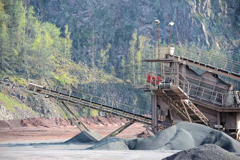stone crusher in a quarry. mining industry Stone Pit Transportation Production Construction Materials Construction Material Rocks Steinbruch Stonepit Quarry Rock Quarry Mining Minerals Steinbrecher Mine Stone Crusher Conveyor Belt