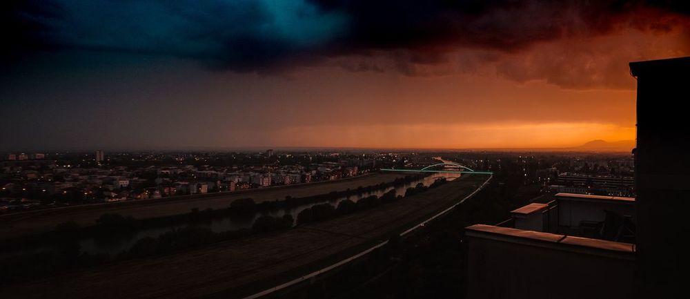 End Of Day Zagreb Architecture City Sky Built Structure Building Exterior Cityscape Illuminated Cloud - Sky Sunset No People City Life Street Residential District Building High Angle View