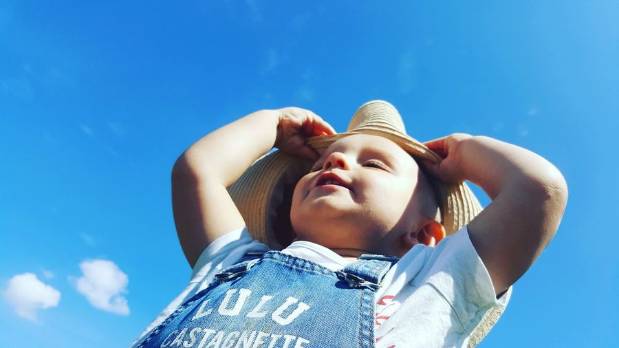 EyeEm Selects Blue One Person Low Angle View Sky People Vacations Clear Sky Outdoors Close-up Baby Baby Boy Babyboy Babyhood Toddler  Toddlerlife Toddlersofeyem Toddler Photography Toddlerphotography Toddler Boy Funtime The Week On EyeEm Summer Exploratorium