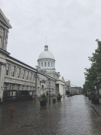 Buildings in city during rainy season